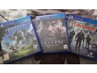 Playstation 4 Games. Horizon Zero Dawn, The Division and Lords of the Fallen
