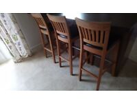 Wooden breakfast bar stools x 3