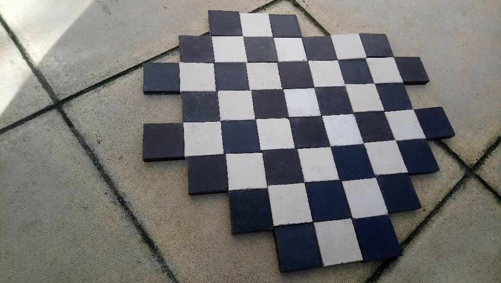 50 X Reclaimed Black And White Victorian Floor Tiles In Palmers