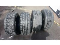 Black gloss fox racing alloy wheels and run flat tyres.