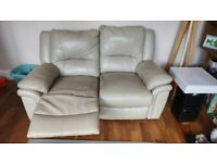 2 Seater + 3 Seater leather recliner Sofas
