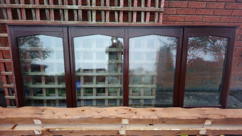 Mahogany Window Frame with double glazing. Dimensions 2.45m x 0.41m