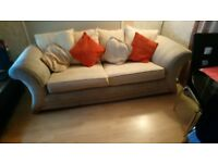 Large metal action cream material sofa bed and 3 seater sofa for sale, with removable cushion covers