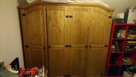 REDUCED Corona Mexican pine wood 4 door wardrobe