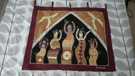 African wall hanging, tribal scene, artwork, picture etc