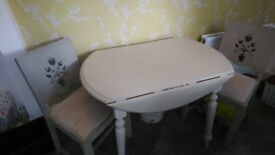 Shabby Chic Dropleaf table and 2 chairs