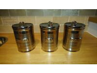 Ben de lisi Tea Coffee Sugar Canisters (Chrome Retro)