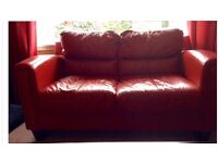 Red Leather 3 Seater Soft, 2 Seater Soft and Footstool