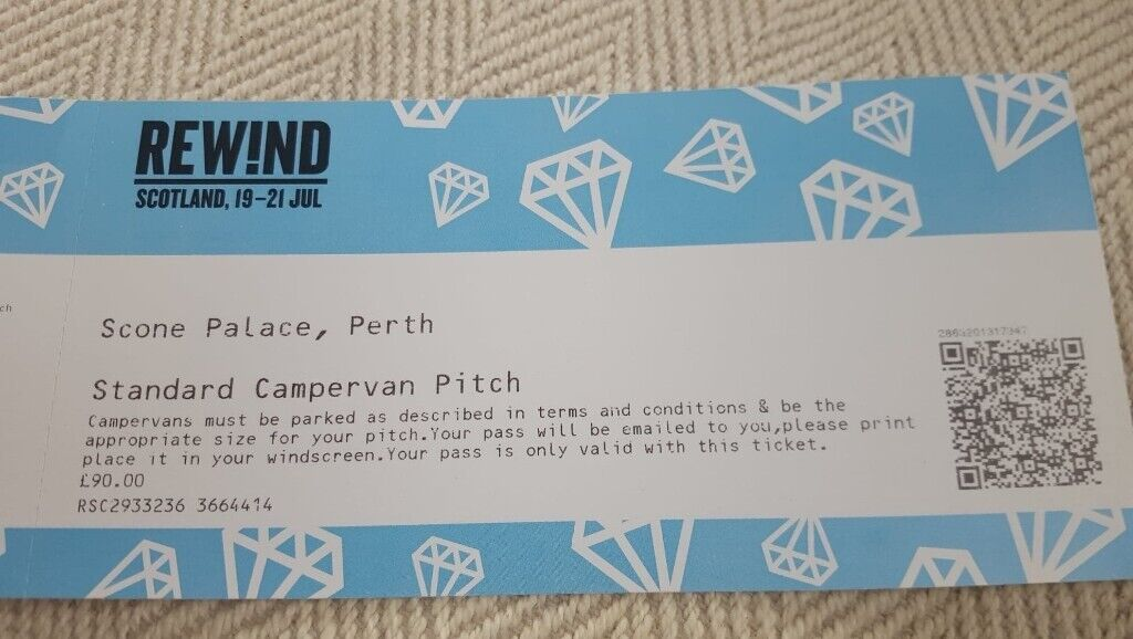 Rewind tickets ( weekend) and campervan entry Scone palace 19th July Face  Value   in Hamilton, South Lanarkshire   Gumtree