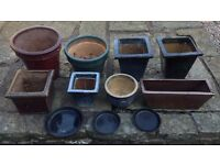 Job Lot of Garden Plant Pots, Trough and Saucers