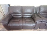 Leather recliner setees