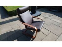 Ikea Poang Brown Leather Chair