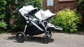 Baby Jogger City Select Double Pram in white / silver