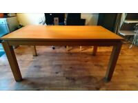 Solid wood dining table with 6 faux leather chairs