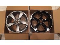 "SET OF 4 NEW GREY 18"" Audi Rotor Alloy Wheels Black Edition A3 A4 A5 A6 RS3 RS4 RS6 S5 S6 S3 S4 BHAM"