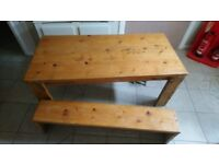 Wood Dining table and bench, was new,