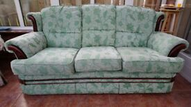 Three Seater Settee/ Sofa in Green