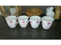 White mugs with pink hearts - £1 each