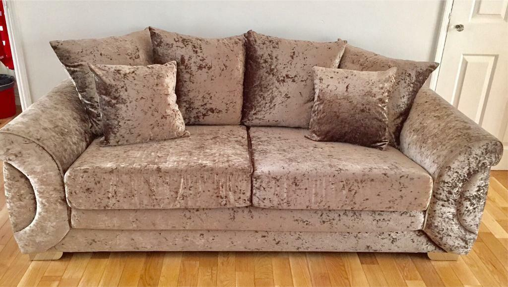 gold crushed velvet sofa tub chair footstool