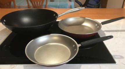 Scanpan Wok and 2 Silverstone Frypans Frankston 3199 kitchen pans