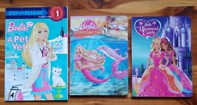 Lot 3 Barbie books, 2 board, 1 I Can Read level 1