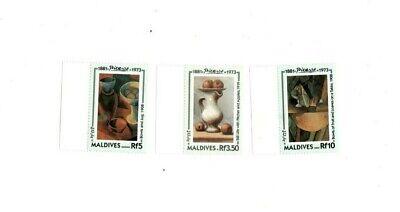 VINTAGE CLASSICS - MALDIVES SC# 1876-8 Picasso Set of 3 - MNH