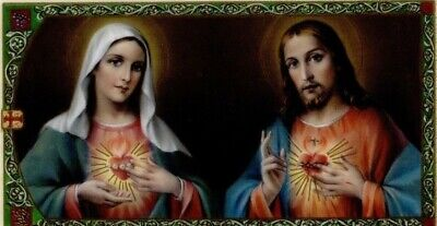 Sacred Heart of Jesus & Immaculate Heart Mary Catholic Laminated Prayer Card ()