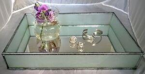 Gisela Graham *Mirror Vanity Table Tray *Art Deco Glass* Trinket/Jewellery
