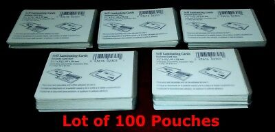 100 High Quality Self Laminating Card Pouches 2-12 X 3-78 62x99mm Business
