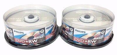 50 PHILIPS 4X DVD+RW DVDRW ReWritable Disc 4.7GB Branded Logo 2x25pk +50 Sleeves
