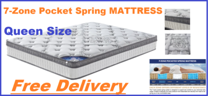 BRAND NEW 7 Zone Pocket Spring Queen Size Mattress DELIVERED FREE