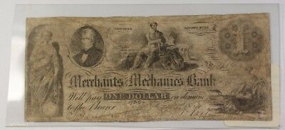 1854 Obsolete Banknote  1 Merchant Mechanics Bank Troy Ny Very Good Condition