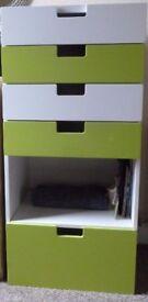 Chest of drawers white/green ikea STUVA