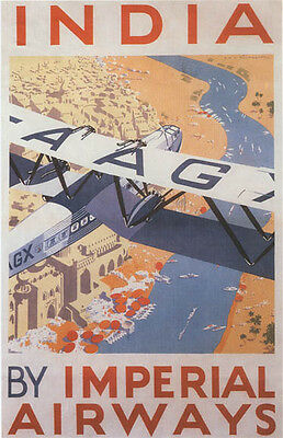 """Vintage Imperial Air """"India""""  Travel Poster"""