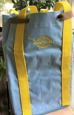 Nantucket Bagg, Knitting,Tote,Travel, Backpack.LIGHT BLUE w YELLOW STRAPS *
