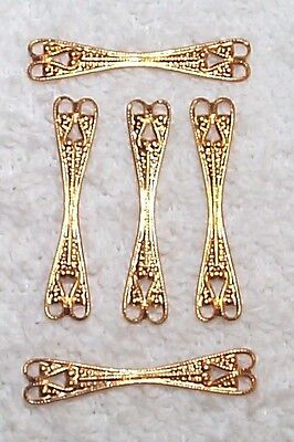 VINTAGE OPEN CUT WORK FILIGREE BRASS STAMPINGS FINDINGS WITH RINGS 12 PCS-THIN