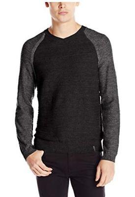 NEW-Calvin Klein Jeans Men's Uneven Budding V-Neck Sweater, M, 2 Tone Black/Gray