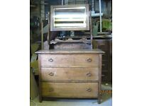 Chest of Drawers, solid oak with mirror - vintage / retro