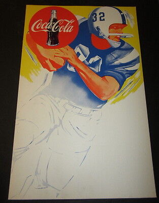 Old c.1960 Vintage COCA COLA - Football Schedule - Cardboard POSTER / SIGN