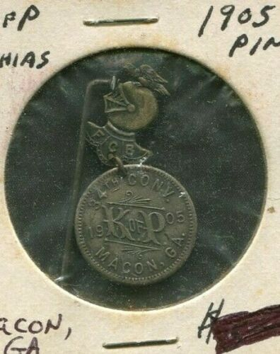 1905 PIN MEDAL KNIGHTS OF PYTHIAS 34TH NATIONAL CONVENTION  MACON GA 20MM MEDAL