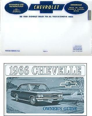 1966 66 Chevelle Owner's Manual And Cover
