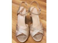 New Look gold glitter block heels