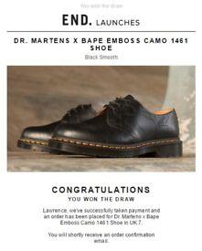 DR. MARTENS X BAPE EMBOSS CAMO 1461 SHOE UK 7