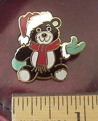 Dressed Teddy Bear - Teddy Bear Dressed As Santa Claus Enamel Christmas Brooch Pin CUTE!!!