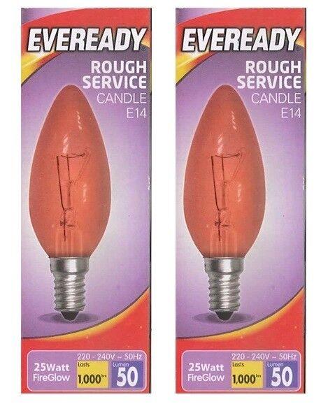 Lot de 2 Eveready Ampoule 25 W ES E27 Red Fire Glow flamme bougie type G3