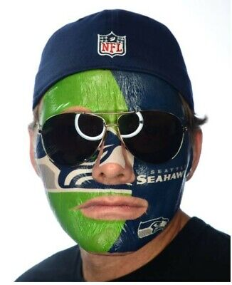 Fan Face Tattoo (NFL Seattle Seahawks Fan Game Day Full Face Temporary Tattoo Face)