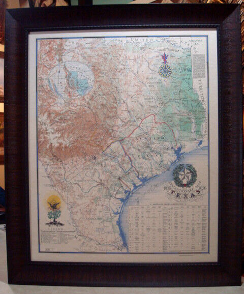 1836 REVOLUTIONARY MAP OF TEXAS FRAMED