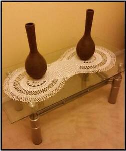 Coffee Table & Side Table with Glass Top and Stainless Steel Base Wetherill Park Fairfield Area Preview