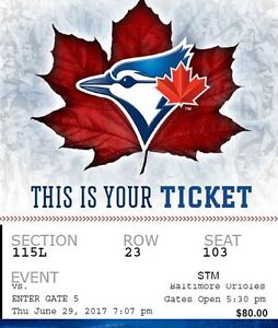 $80 Each Field Level Jays tickets Thurs June 29th vs Baltimore