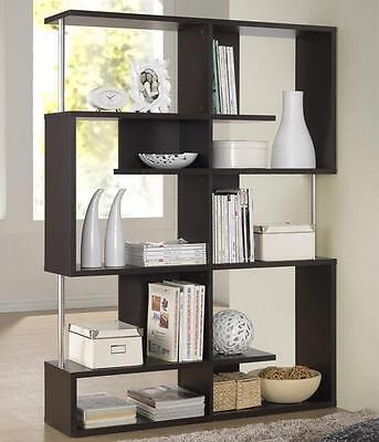 Brown Bookcase Shelves Room Divider Modern Contemporary Open Display